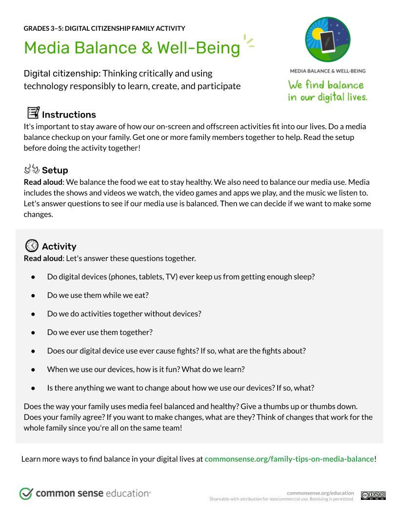 Media Balance & Well Being Digital Citizenship