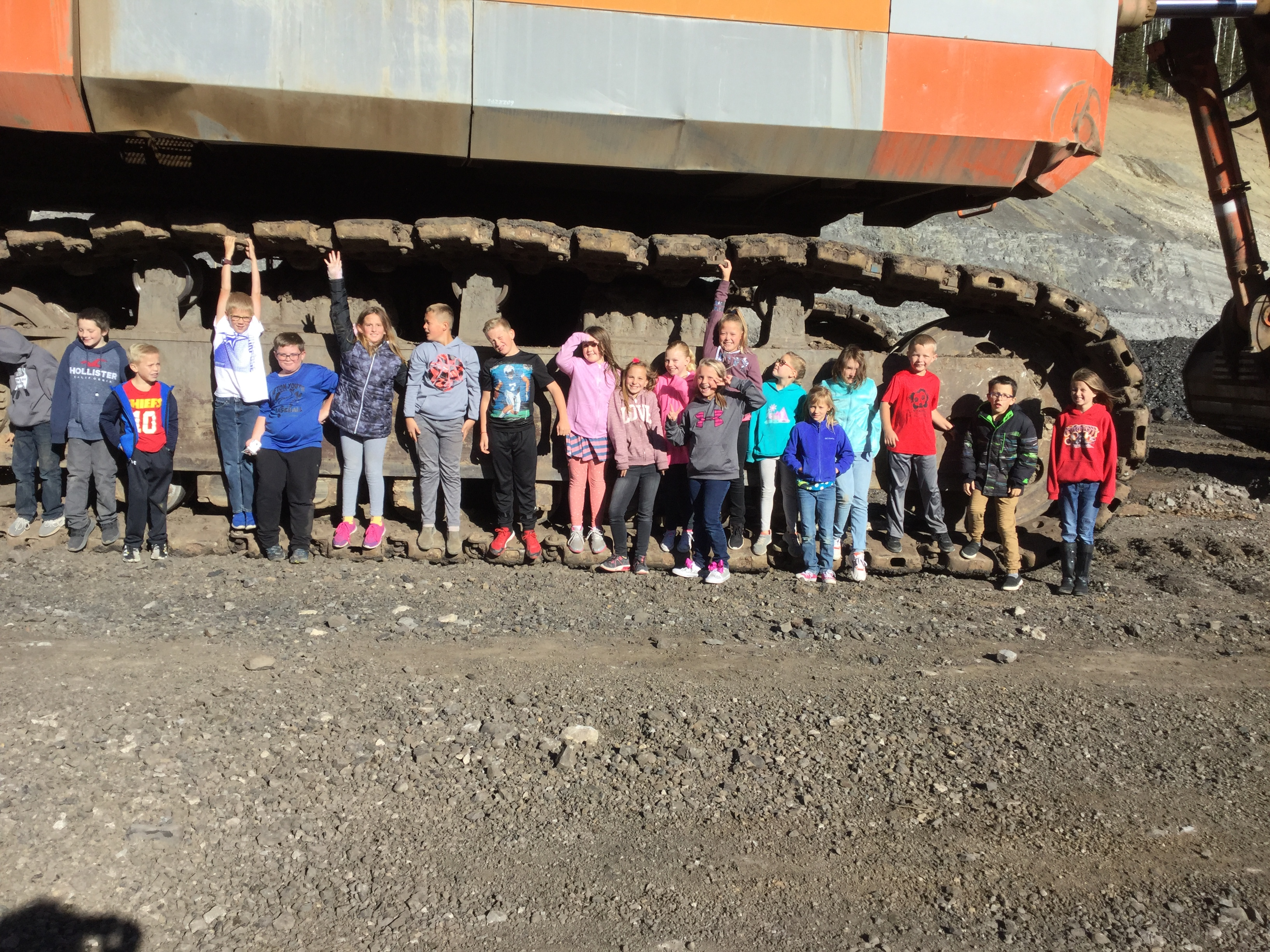 Kids on their fieldtrip to Smokey Canyon Mine.
